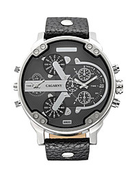 CAGARNY Men Watch /Fashion Watch / Large Dial  / Dual Time Zone  / Japanese Quartz Calendar / Personalized Watch