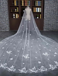 Wedding Veil One-tier Cathedral Veils Cut Edge Tulle / Lace Ivory Flowers