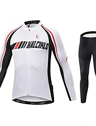 Malciklo Cycling Jersey with Tights Men's Long Sleeve Bike Compression Clothing TightsQuick Dry Front Zipper Wearable High Breathability