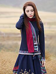 Damen Paisley-Muster Retro Ausgehen T-shirt,Rollkragen Frühling / Herbst Langarm Blau Baumwolle / Elasthan Mittel