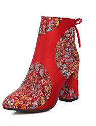 Women's Boots Fall Winter Embroidered Shoes Club Shoes Light Up Shoes Customized Materials Wedding Chunky Heel Block Heel Satin Flower