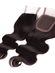 18inch handtied волна тело шнуровке необработанный волос Remy человеческих волос 4 * 4swiss кружева