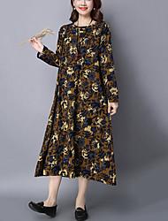Women's Plus Size / Casual Vintage Loose DressFloral Round Neck Midi Long Sleeve Blue Cotton / Linen Spring / Fall
