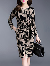 Women's Plus Size / Going out Street chic Sheath Dress,Print Round Neck Knee-length Long Sleeve Brown Polyester /