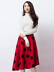 De las mujeres Faldas-Hasta la Rodilla Vintage Rígido-Poliéster / Licra
