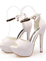 Women's Sandals Spring / Summer Comfort  Casual Stiletto Heel Crystal / Buckle Black / White Walking