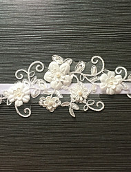 Garter Stretch Satin / Lace Flower / Imitation Pearl White