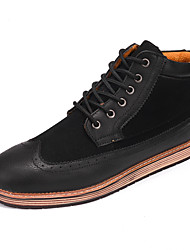 Men's Boots Spring Summer Fall Winter Comfort Leatherette Casual Flat Heel Stitching Lace Black Tan
