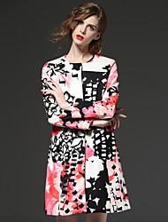 FRMZ  Women's Going out Vintage CoatPrint Round Neck Long Sleeve Winter White Polyester Medium