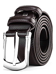 Mens Silver Belt Buckle Brown Leather Waist Belt Straps For Casual Pants Jeans Belts
