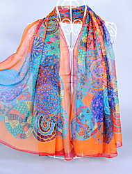 Women's Imitated Silk Fabric Geometric Patterns Print Scarf Fuchsia/Orange/Green/Royal Blue/Blue