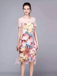 Gaine Robe Femme Sortie Sophistiqué,Fleur Col Arrondi Au dessus du genou Manches Courtes Rose Soie / Polyester Eté Taille Normale