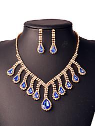 Schmuckset Halskette / Ohrringe Braut-Schmuck-Sets Quaste Modisch Krystall Kupfer Strass versilbert Schwarz Rot Grün BlauHalsketten
