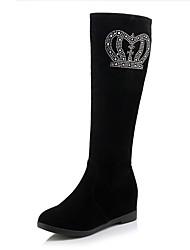 Damen-Stiefel-Lässig-PU-Keilabsatz-Modische Stiefel-Schwarz