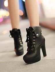 Для женщин Ботинки Армейские ботинки Дерматин Зима Для праздника Армейские ботинки Шнуровка На толстом каблукеБелый Черный Коричневый