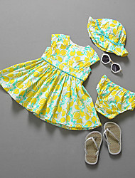 Girl's Casual/Daily Floral DressCotton Summer Yellow