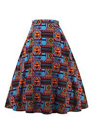 Jupes Aux femmes Mi-long Vintage Coton Non Elastique