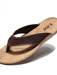 Men's Slippers & Flip-Flops Summer Leather Casual Flat Heel  Brown