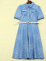 Boutique S Women's Going out Sophisticated Sheath DressFloral Shirt Collar Above Knee Short Sleeve Blue