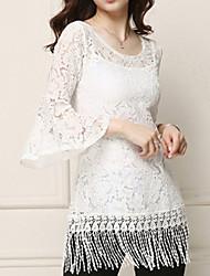 Mulheres Blusa Casual Simples Outono,Sólido Branco Decote Redondo Manga ¾ Média