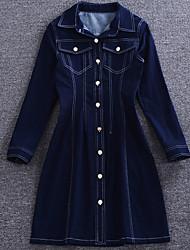 sencilla demostración de salir sencilla cuello de la camisa dresssolid suelta por encima de la rodilla de la manga de algodón azul mediados de verano