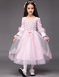 Ball Gown Tea-length Flower Girl Dress - Satin / Tulle Long Sleeve V-neck with Appliques / Bow(s)