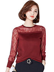 Fall Spring Go out Casual Women's Tops Solid Color Lace Splicing Round Neck Long Sleeve Sweaters