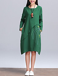 Women's Casual/Daily Vintage Loose DressSolid Round Neck Knee-length Long Sleeve Blue / Green Linen All Seasons