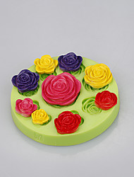 Food grade silicone rose mold flower fondant cake molds for soap chocolate Color Random