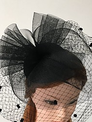 Women's Tulle / Net Headpiece-Wedding / Special Occasion / Casual Headbands 1 Piece Black Round FREE SIZE