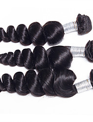 Wholesale 3Pcs/Lot 300g 20-24inch Brazilian Virgin Hair Loose Wave Natural Black Unprocessed Human Hair Weaves
