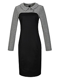 Women's Formal Sophisticated Bodycon Dress Shirt Collar Knee-length Long Sleeve Black / Purple Polyester Fall Mid Rise