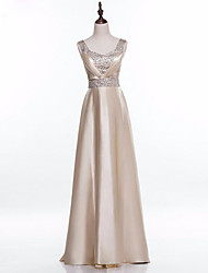 Formal Evening Dress A-line Square Floor-length Satin with Beading / Pleats