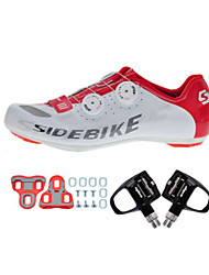 Cycling Shoes Unisex Outdoor / Road Bike 002 Sneakers Damping / Cushioning White / Red-sidebike And Black Lock Pedals