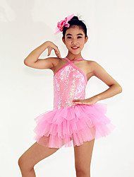 Ballet Dresses Women's / Children's Performance Spandex / Cascading Ruffle / Paillettes / Sequins 2 Pieces Pink