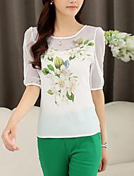 Women's Casual Work Micro Elastic Short Sleeve Regular T-shirt (Chiffon)