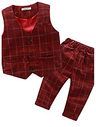 Boy's Casual/Daily Plaid Suit & Blazer / Vest / Clothing SetCotton Spring / Fall Blue / Multi-color / Red