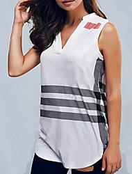 T-shirt Da donna Per uscire / Casual Semplice Estate / Autunno,A strisce A V Poliestere Bianco / Multicolore Senza maniche Opaco