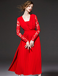 FRMZ  Going out Sophisticated Sheath DressSolid Strapless Midi Long Sleeve Red Polyester Spring / Fall High Rise