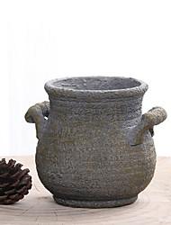 Chinese Ceramic Flowerpot Retro Wind Flow Glaze Color Jump Fleshy Cement Art Basin Colorful Rings