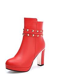 Damen-Stiefel-Büro Kleid Lässig-Lackleder Kunstleder-Blockabsatz-Komfort Pumps Reitstiefel Modische Stiefel-Schwarz Rot Weiß