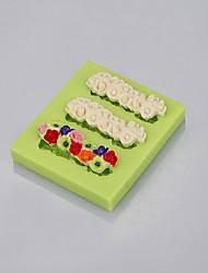 Food grade FDA silicone mold 3 cavity flowers shape for fondant cake decoration tools