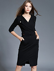 Women's Plus Size /Work Sexy Bodycon /Sheath DressSolid V Neck Knee-length  Sleeve Red /Black Rayon /Nylon Spring /Fall