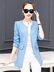 Damen Solide Retro Lässig/Alltäglich Blazer,Asymmetrisch Alle Saisons Langarm Blau / Rosa Polyester Mittel