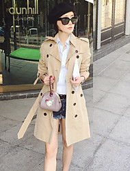 Boutique S Formal / Work Simple Trench CoatSolid Peaked Lapel Long Sleeve Winter Beige Cotton Medium