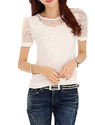 Damen Jacquard Einfach Street Schick Ausgehen T-shirt,Rundhalsausschnitt Kurzarm Baumwolle Kunstseide Dünn