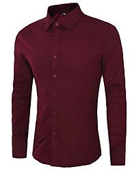 Men's Solid Work / Formal Shirt,Cotton Long Sleeve Black / Blue / Pink / White