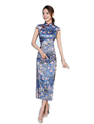 One-Piece Short Sleeve Long Length Blue Lolita Dress Polyester