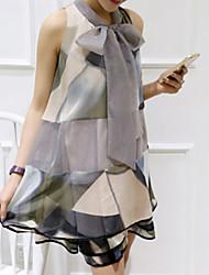 Grandes Tailles Robe Aux femmes Travail Actif,Géométrique Col Arrondi Au dessus du genou Sans Manches Multi-couleur PolyesterToutes les