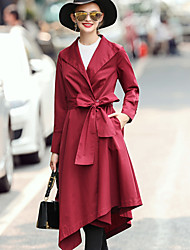 Women's Work Simple / Street chic / Sophisticated Trench CoatSolid Shirt Collar Long Sleeve Fall / WinterRed